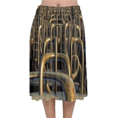 Fractal Image Of Copper Pipes Velvet Flared Midi Skirt by Jojostore