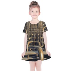 Fractal Image Of Copper Pipes Kids  Simple Cotton Dress