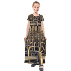 Fractal Image Of Copper Pipes Kids  Short Sleeve Maxi Dress by Jojostore