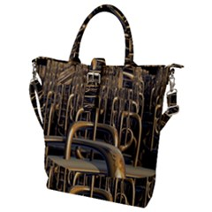 Fractal Image Of Copper Pipes Buckle Top Tote Bag