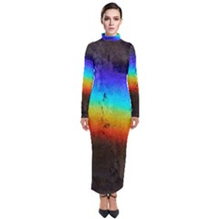 Rainbow Color Prism Colors Turtleneck Maxi Dress