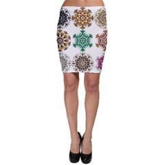 A Set Of 9 Nine Snowflakes On White Bodycon Skirt