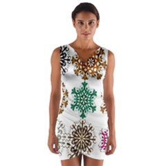 A Set Of 9 Nine Snowflakes On White Wrap Front Bodycon Dress by Jojostore