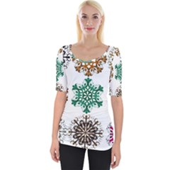 A Set Of 9 Nine Snowflakes On White Wide Neckline Tee by Jojostore