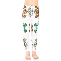 A Set Of 9 Nine Snowflakes On White Kids  Legging