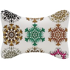 A Set Of 9 Nine Snowflakes On White Seat Head Rest Cushion by Jojostore