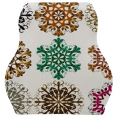 A Set Of 9 Nine Snowflakes On White Car Seat Velour Cushion  by Jojostore