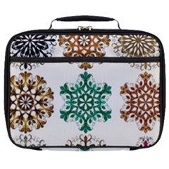 A Set Of 9 Nine Snowflakes On White Full Print Lunch Bag by Jojostore