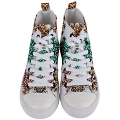 A Set Of 9 Nine Snowflakes On White Women s Mid Top Canvas Sneakers
