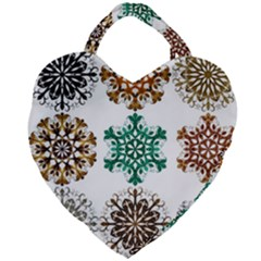 A Set Of 9 Nine Snowflakes On White Giant Heart Shaped Tote by Jojostore