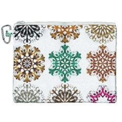 A Set Of 9 Nine Snowflakes On White Canvas Cosmetic Bag (xxl) by Jojostore