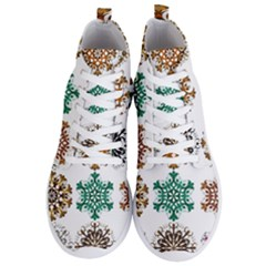 A Set Of 9 Nine Snowflakes On White Men s Lightweight High Top Sneakers