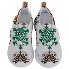 A Set Of 9 Nine Snowflakes On White Velcro Strap Shoes by Jojostore