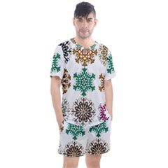 A Set Of 9 Nine Snowflakes On White Men s Mesh Tee And Shorts Set by Jojostore