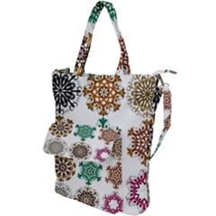 A Set Of 9 Nine Snowflakes On White Shoulder Tote Bag