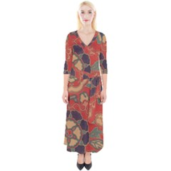 Vintage Chinese Brocade Quarter Sleeve Wrap Maxi Dress