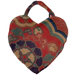 Vintage Chinese Brocade Giant Heart Shaped Tote by Jojostore