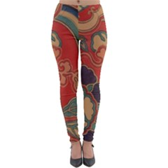 Vintage Chinese Brocade Lightweight Velour Leggings by Jojostore