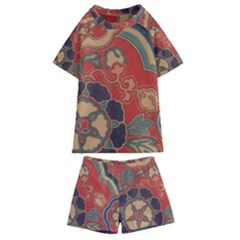 Vintage Chinese Brocade Kids  Swim Tee And Shorts Set