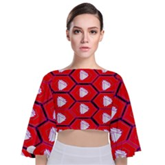 Red Bee Hive Tie Back Butterfly Sleeve Chiffon Top