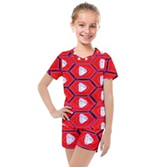 Red Bee Hive Kids  Mesh Tee And Shorts Set by Jojostore