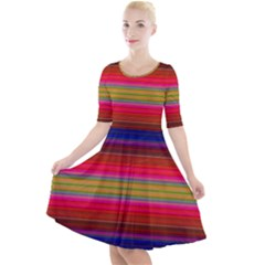 Fiesta Stripe Colorful Neon Background Quarter Sleeve A Line Dress