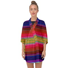 Fiesta Stripe Colorful Neon Background Half Sleeve Chiffon Kimono