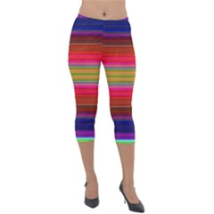 Fiesta Stripe Colorful Neon Background Lightweight Velour Capri Leggings  by Jojostore