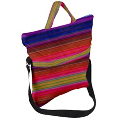 Fiesta Stripe Colorful Neon Background Fold Over Handle Tote Bag by Jojostore