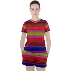 Fiesta Stripe Colorful Neon Background Women s Tee And Shorts Set by Jojostore