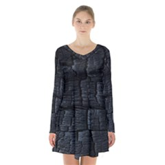 Black Burnt Wood Texture Long Sleeve Velvet V Neck Dress