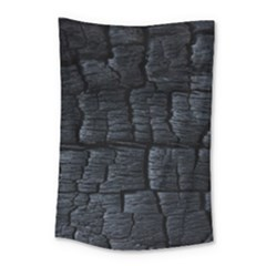 Black Burnt Wood Texture Small Tapestry