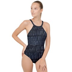 Black Burnt Wood Texture High Neck One Piece Swimsuit