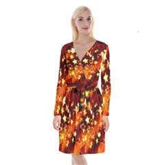 Background Pattern Lines Oval Long Sleeve Velvet Front Wrap Dress