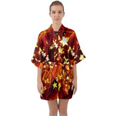 Background Pattern Lines Oval Quarter Sleeve Kimono Robe
