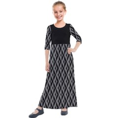 B/w Abstract Pattern 2 Kids  Quarter Sleeve Maxi Dress by JadehawksAnD