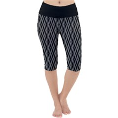 B/w Abstract Pattern 2 Lightweight Velour Cropped Yoga Leggings by JadehawksAnD