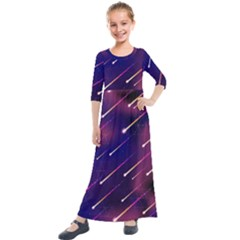 Meteor Shower 1 Kids  Quarter Sleeve Maxi Dress by JadehawksAnD