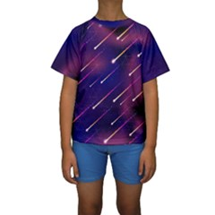 Meteor Shower 1 Kids  Short Sleeve Swimwear