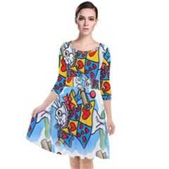 Seamless Repeating Tiling Tileable Quarter Sleeve Waist Band Dress