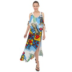 Seamless Repeating Tiling Tileable Maxi Chiffon Cover Up Dress