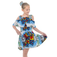 Seamless Repeating Tiling Tileable Kids  Shoulder Cutout Chiffon Dress