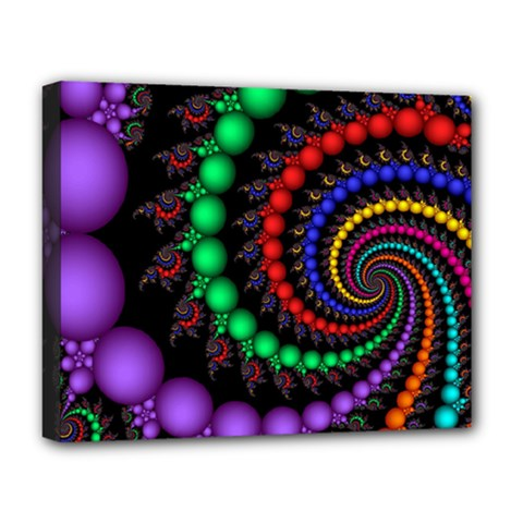 Fractal Background With High Quality Spiral Of Balls On Black Deluxe Canvas 20  X 16  (stretched) by Jojostore