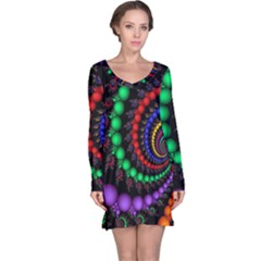 Fractal Background With High Quality Spiral Of Balls On Black Long Sleeve Nightdress by Jojostore
