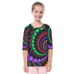Fractal Background With High Quality Spiral Of Balls On Black Kids  Quarter Sleeve Raglan Tee by Jojostore