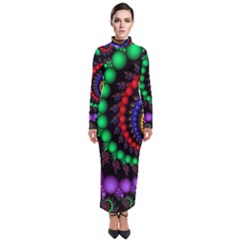 Fractal Background With High Quality Spiral Of Balls On Black Turtleneck Maxi Dress