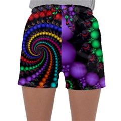 Fractal Background With High Quality Spiral Of Balls On Black Sleepwear Shorts