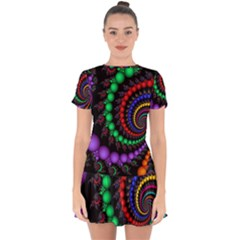 Fractal Background With High Quality Spiral Of Balls On Black Drop Hem Mini Chiffon Dress