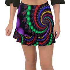 Fractal Background With High Quality Spiral Of Balls On Black Fishtail Mini Chiffon Skirt