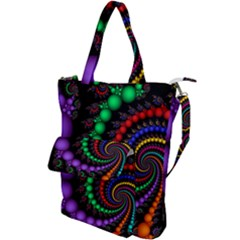Fractal Background With High Quality Spiral Of Balls On Black Shoulder Tote Bag